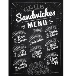 Sandwiches menu chalk vector image