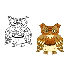 Cartoon outline brown owl bird vector image vector image