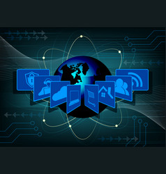 dark blue background with the symbols of the vector image vector image