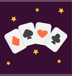 Vintage retro poker cards art style gambler vector