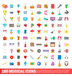 100 musical icons set cartoon style vector image