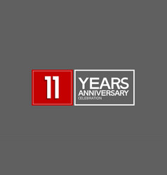 11 years anniversary in square with white and red vector