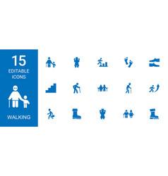 15 walking icons vector