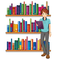 A man in the library vector image