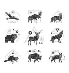 animals polygonal monochrome emblems vector image