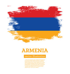 Armenia flag with brush strokes independence day vector