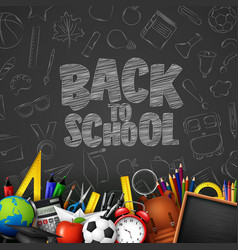 back to school with school supplies and doodles on vector image