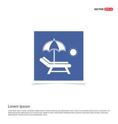 Beach umbrella with bed icon - blue photo frame vector