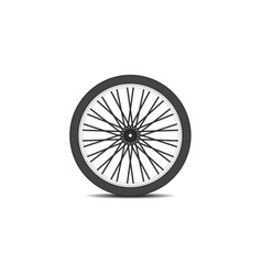 Bicycle wheel in black design with shadow vector