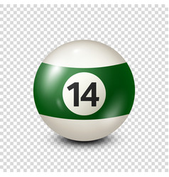 Billiardgreen pool ball with number 14snooker vector