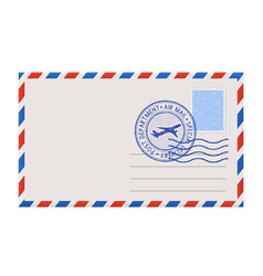 Blank envelope with stamp and postal postmark vector
