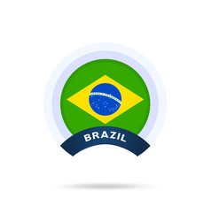 brazil national flag circle button icon simple vector image