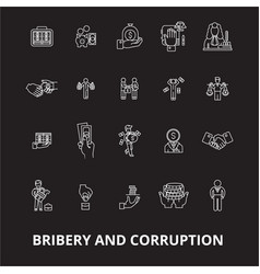 Bribery and corruption editable line icons vector