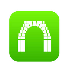 Brick arch icon green vector