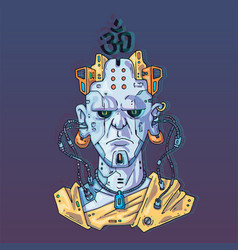 Character face in futuristic virtual style cyber vector