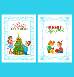 Christmas holidays children opening presents vector