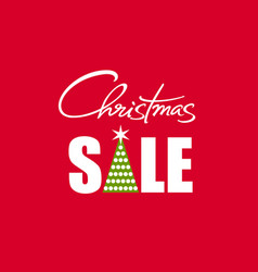 christmas sale poster with handwritten lettering vector image