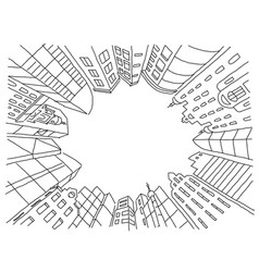 city in a circle frame sketch vector image