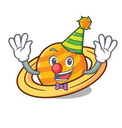 clown planet saturnus mascot cartoon vector image