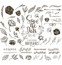collection of design elements for wedding vector image