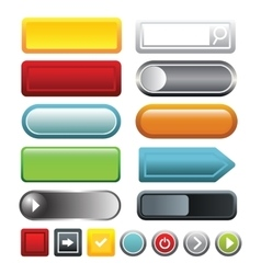 Colorful blank web button icons set cartoon style vector