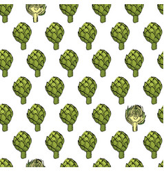 Coloured artichoke seamless natural pattern vector