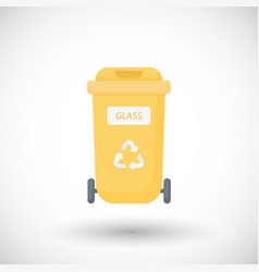 container for glass waste flat icon vector image