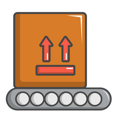 Conveyor belt with box icon cartoon style vector
