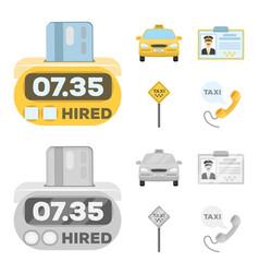 Counter fare in taxi taxi car vector