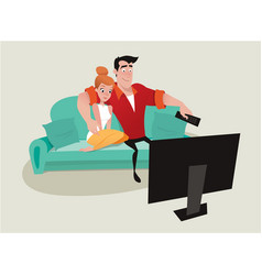 couple relaxing on the sofa watching tv vector image