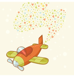 Cute cartoon hand-drawn airplane vector image