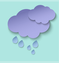 dark paper cut clouds and rain drops 3d paper art vector image