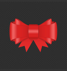 decorative red bow with ribbon vector image