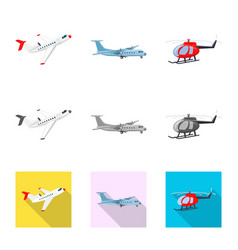 Design of plane and transport icon set of vector