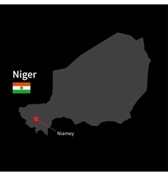 Detailed map of Niger and capital city Niamey with vector