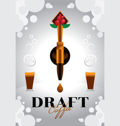 Draft coffee with golden tap vector