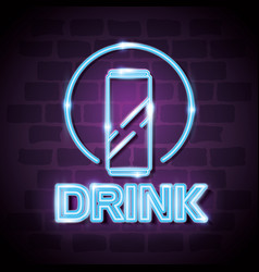 drink bar neon label vector image