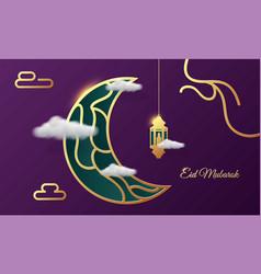 eid mubarok islamic background greeting card vector image
