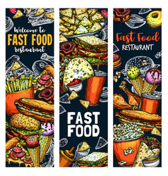 fastfood burgers and sandwiches food sketch vector image