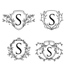 feminine floral wedding logo collection vector image