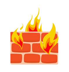 Firewall icon flat wall in fire icon vector