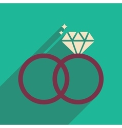 Flat web icon with long shadow wedding rings vector