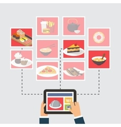 Food delivery online order or recipe searching vector image
