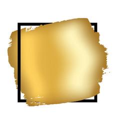 Gold brush in black square frame isolated white vector