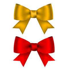Golden and red shiny bow for design isolated on vector
