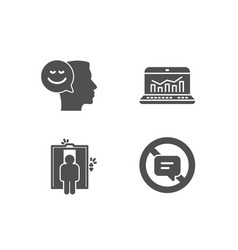 Good mood elevator and web analytics icons stop vector