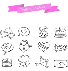 Hand draw of icon valentine vector