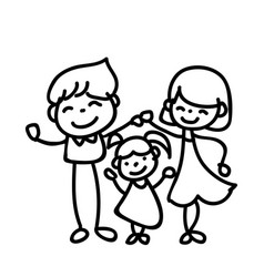 Hand drawing abstract cartoon happy people family vector