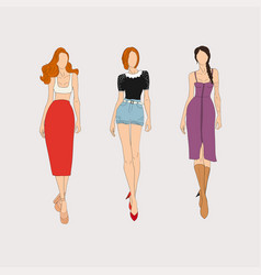 hand drawn fashion models concept vector image