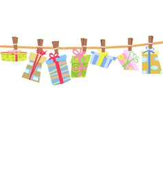 hanging gift box vector image vector image